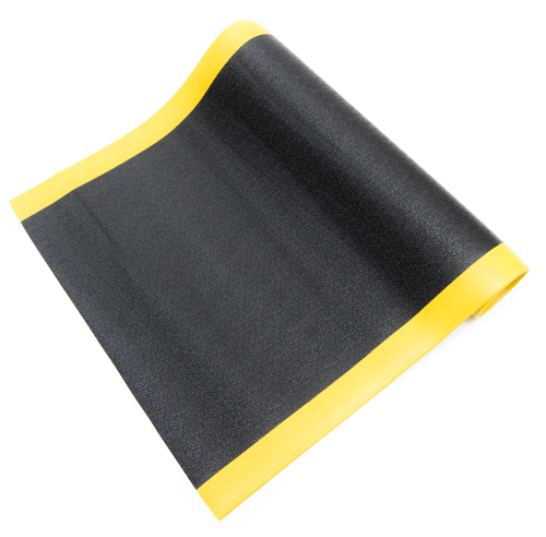 black and yellow anti fatigue mat textured